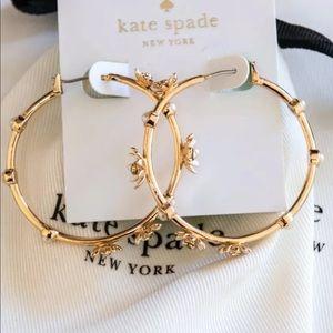 Kate Spade Loves me gold pave flower hoop earring